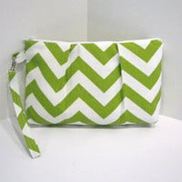 the Pleated Clutch Wristlet . Large  . in Chevron ZigZag Chartreuse and White . detachable wrist strap