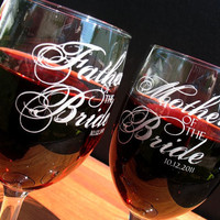 Two Custom engraved wine glasses for toasting