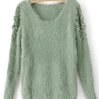 Green Long Sleeve Embroidery Pullovers Sweater - Sheinside.com