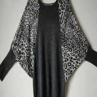 Dark Grey Leopard Batwing Sleeve Pullovers Sweater - Sheinside.com