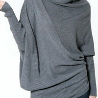 Grey Collapse Of Shoulder Batwing Pullovers Sweater - Sheinside.com