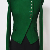 Green Long Sleeve Side Buttons Crop Coat - Sheinside.com