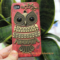 Apple Iphone 4,Iphone 4gs, Iphone 4s Red Hard Case Cover With Big Owl