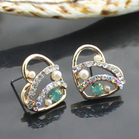 Korean style Rhinestone earrings with heart shape | martofchina.com
