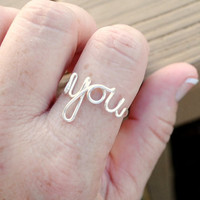 Adjustable Wire Wrapped Wire Word Ring YOU