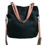 ON SALE Simple Black Multi Strap Waxed Canvas Tote / Messenger Bag