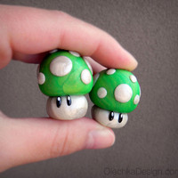 1UP Green Mushroom (Mario) Miniature Sculpture / Cake Topper - Polymer Clay