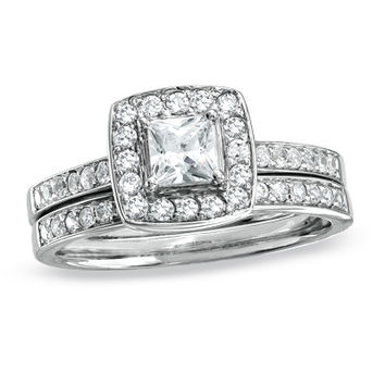 3/4 CT. T.W. Princess-Cut Diamond Framed Double Shank Bridal Set in 14K White Gold