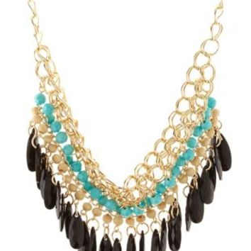 Beaded Fringe Bib Necklace by Charlotte Russe - Gold