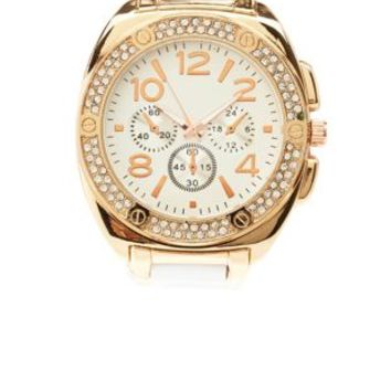 Two-Tone Rhinestone Watch by Charlotte Russe - Rose Gold