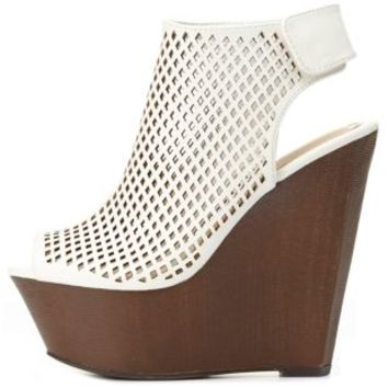 Bamboo Perforated Peep Toe Platform Wedges by Charlotte Russe - White