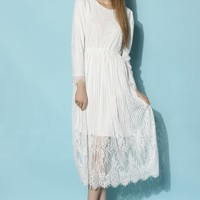 Angels Prayer Full Lace Maxi Dress in White