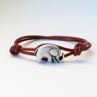 Elephant Leather Bracelet ,good luck elephant, Roll Tide Roll, Bama