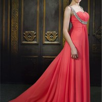 Chiffon Sweetheart A-Line Long Prom Dresses - Basadress.com