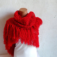Crochet Lace Shawl Red. Wrap Shrug. Red Shawl. Rubby Shawl. Womens Accessory. Red Checkers Shawl, Capelet, Poncho