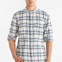 Salt Valley Plaid Flannel Button-Down Workshirt- White