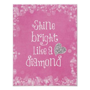 Shine Bright Quote with Silver Sparkle Heart