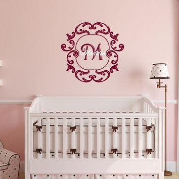 Wall Decal Personalized Monogram Damask Frame Style A with Name Nursery Vinyl Wall Decal 22506