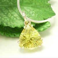 Lemon Quartz Quantum Trillion Sterling Pendant Necklace 10mm x 10mm