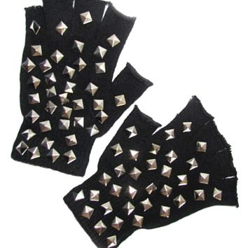 """Cut-Off Studded"" Gloves by Marialia (Black)"