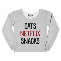 Cats Netflix Snacks-Unisex Heather Grey Hoodie