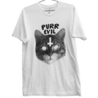 Killer Condo — Purr Evil Cat T-shirt | Black on White