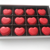 VALENTINES DAY OFFER - French macarons, 12 macarons,ottawa macarons, order macarons online,  heart macarons, red velvet, strawberry macarons