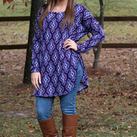 Style & Serenity Sweater Tunic: Navy/Wine - Off the Racks Boutique
