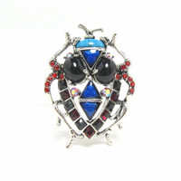 Vintage Insect Glass Rhinestone Brooch Pin