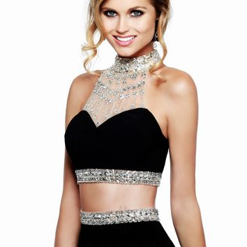 Faviana S7511 Jeweled Neck Jersey Two Piece Gown