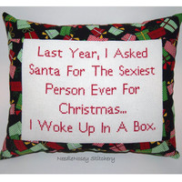 Funny Cross Stitch Christmas Pillow, Red And Black Pillow, Christmas Quote