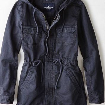 american eagle black utility jacket