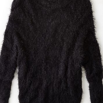 AEO Women's Don't Ask Why Fuzzy Crew Sweater (Black)