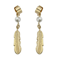 Pearl Feather Earrings  - Accessory - Retro, Indie and Unique Fashion