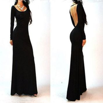 Etosell Women Formal Backless Evening Dress Cocktail Party Slim Long Maxi Dress