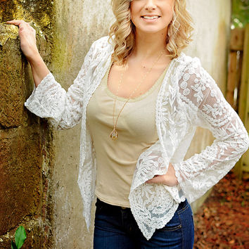 Clarity Lace Cardigan - White / One