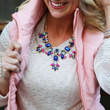 Night At The Plaza Necklace - Multi Colored Jewel Necklace