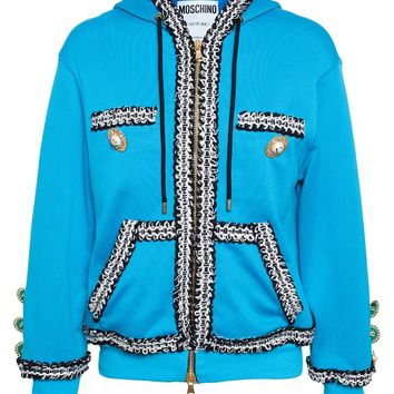 Hooded Sweatshirt with Bouclé Trim - MOSCHINO