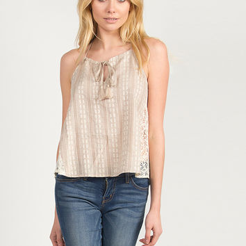 Print and Lace Halter Strappy Top - Taupe /