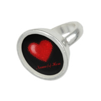Tiled Mosaic Heart (Bright Red) Ring
