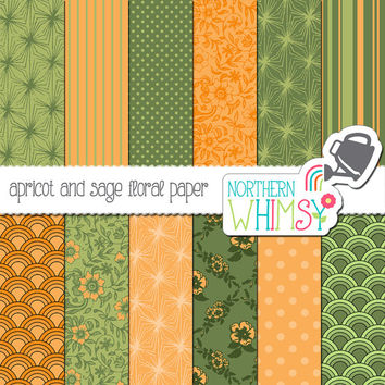 Apricot and Sage Green Digital Paper Pack – scrapbook papers with vintage florals, scallops, and starbursts – instant download – CU OK
