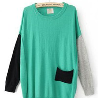 Color Block Round Neck Green Sweater S003190
