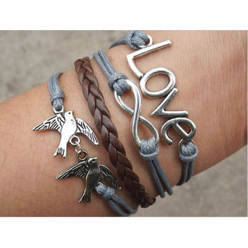 Love Bracelet,infinity Bracelet,bird bracelet,Couples bracelet,lover bracelet,leather bracelet,fashion hipsters jewelry,braided bracelet,gray wax rope