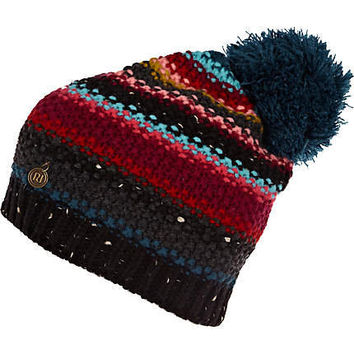 black stripe bobble beanie