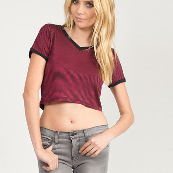 Striped V-Neck Cropped Tee - Burgundy