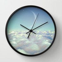 Dream Above The Clouds (Crescent Moon) Wall Clock by Soaring Anchor Designs
