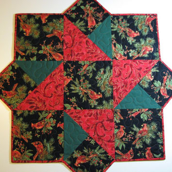 Large Quilted Christmas Table Topper--Cardinals and Berries