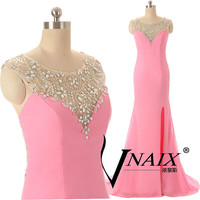 Sexy Party Dresses Custom Made Cap Sleeve Backless Side Slit Long Chiffon Formal Pink Crystal Prom Dresses 2014 Evening Dresses