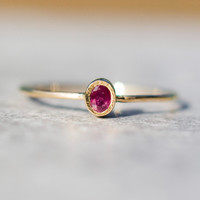 Ruby ring in 14k gold,   delicate jewelry,  stacking  ring,  july birthstone,natural ruby, Christmas gift