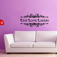 Wall Decal Live Love Laugh Ornate Vintage Style Frame Sign Vinyl Wall Decal 22209